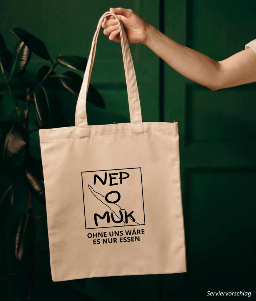 """Tasche in Naturfarbe mit dem Nepomuk-Logo und dem Text """"Ohne uns wäre es nur Essen"""""""